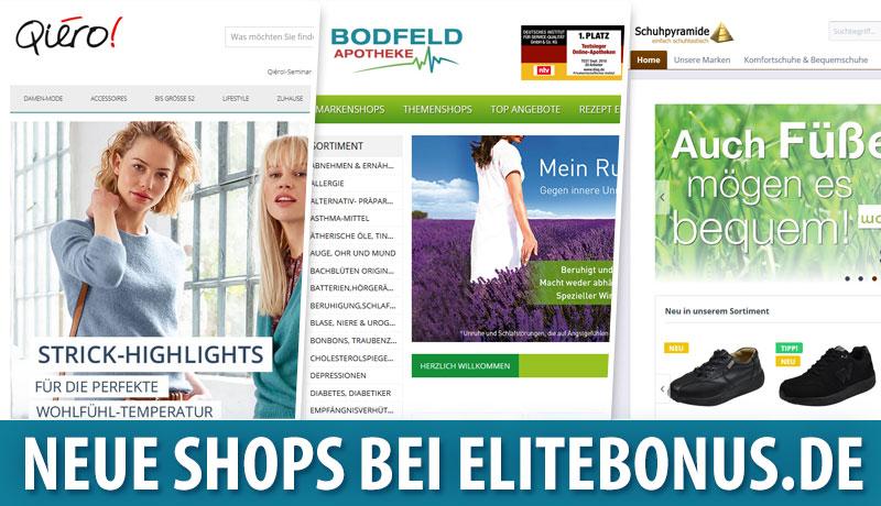 Neu bei elitebonus.de: Qiero, Bodfeld Apotheke & Schuhpyramide